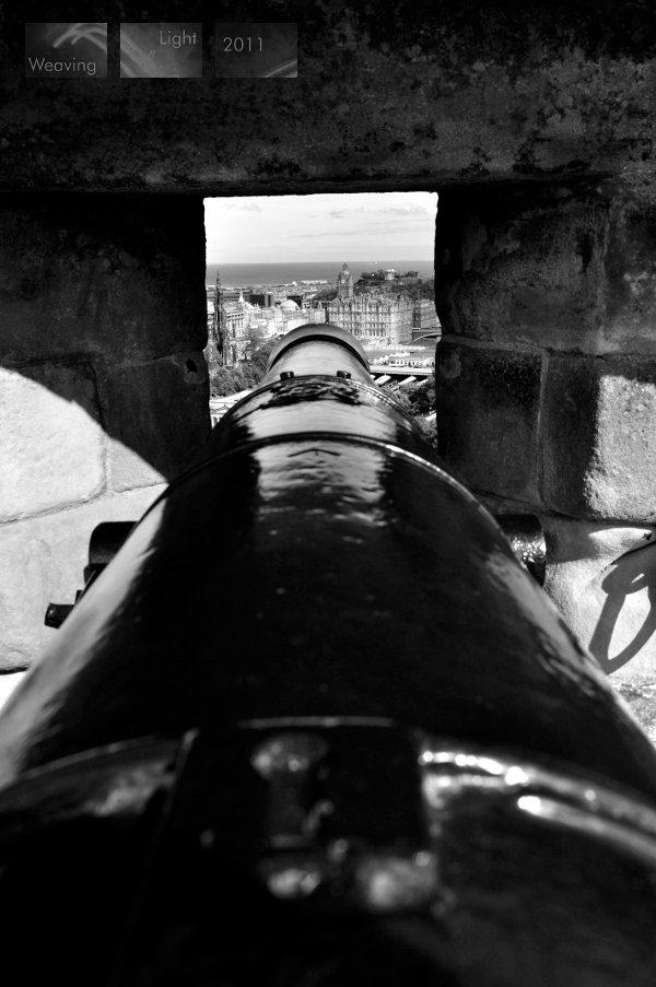 along the cannon