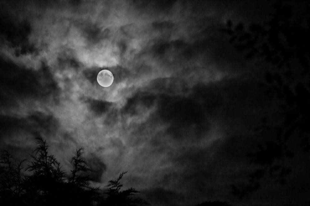 dramatic cloudy sky with full moon