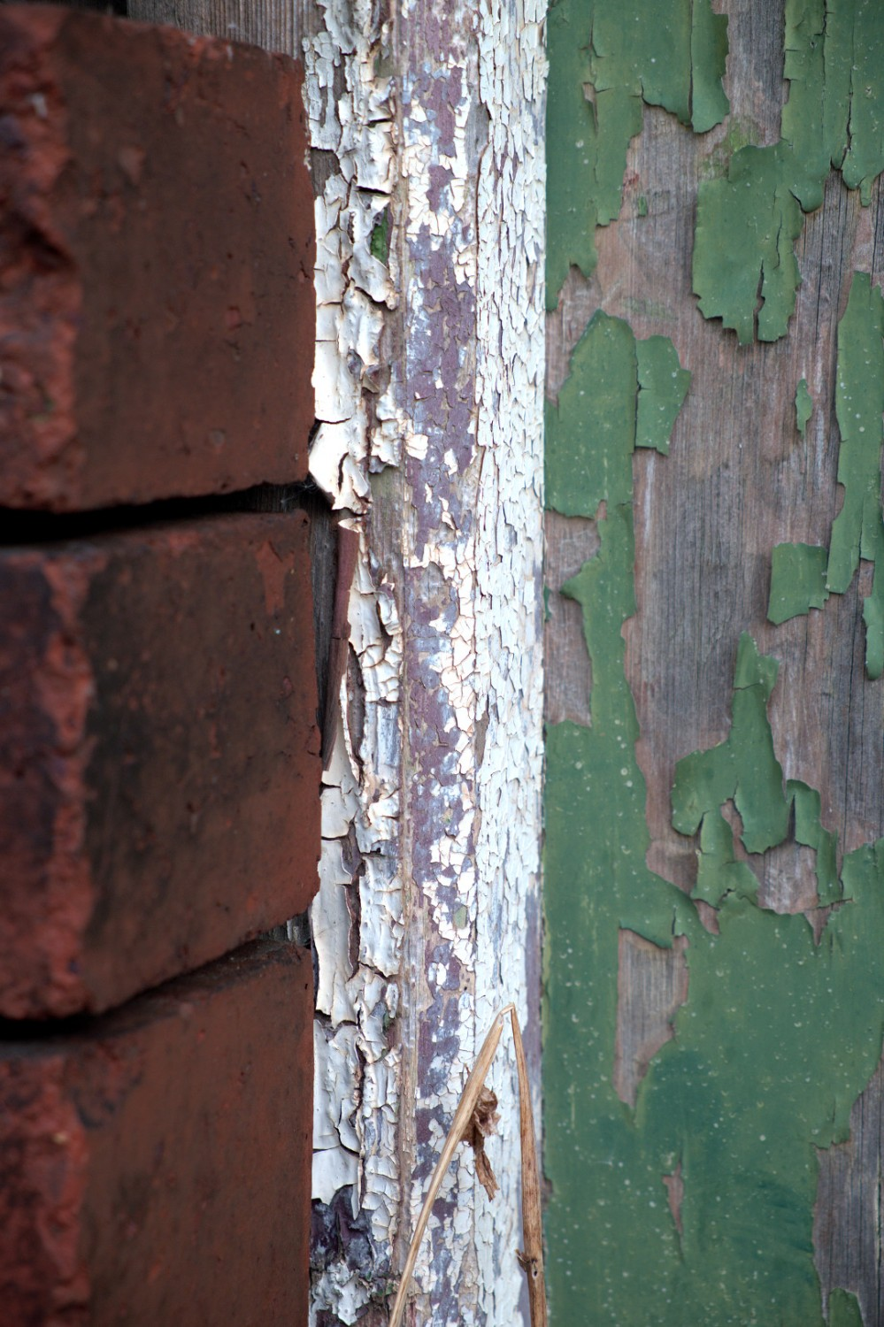 Green and White flaking paint