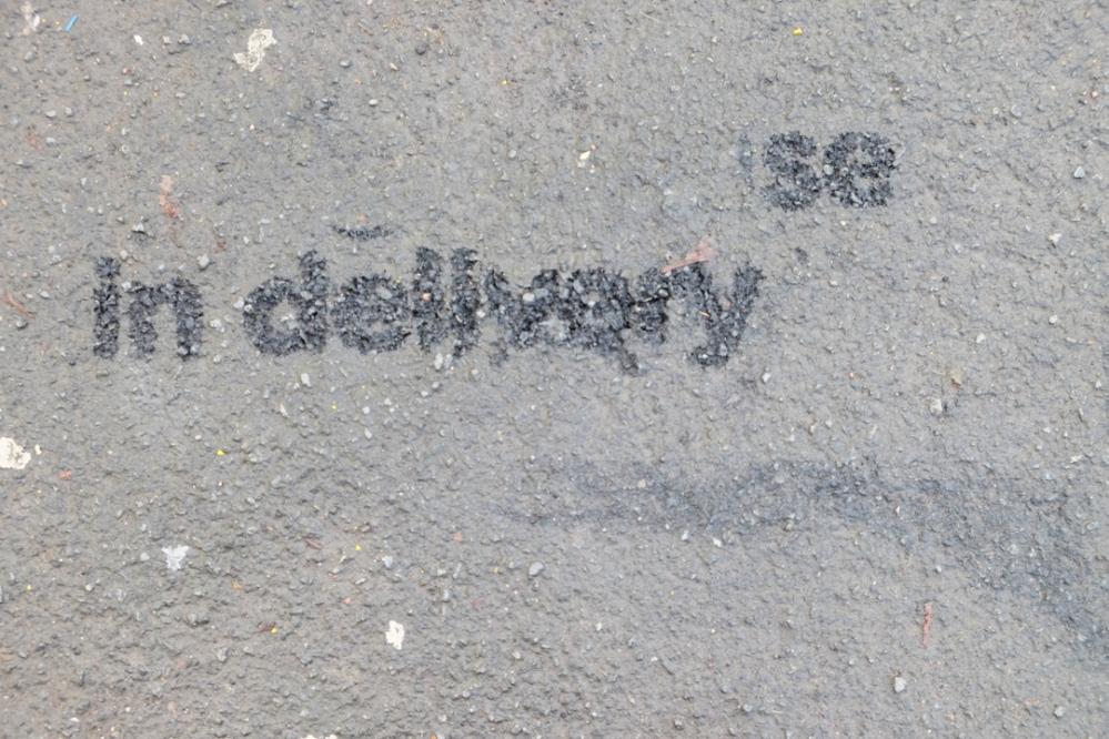 in delivery pavement graffiti
