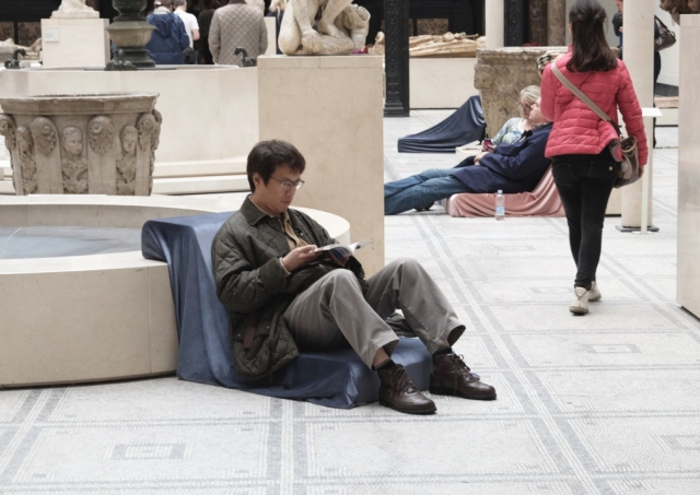 Man Reading in V&A Museum