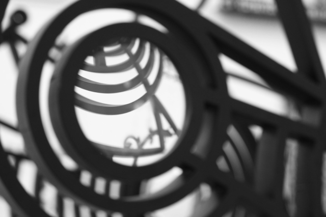 abstract of iron screen with lens