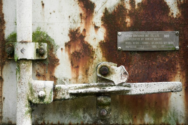 rusted cargo container door
