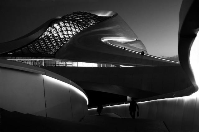 Harbin Grand Theatre in black and white